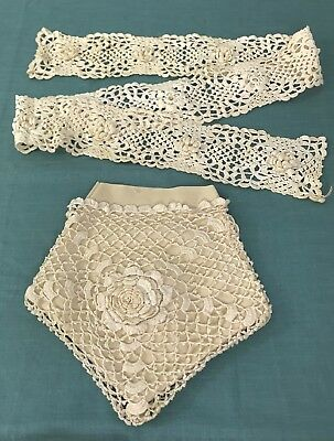 "Antique Irish Crochet Purse and 60"" Heavy Lace    Purse has Large Flower"