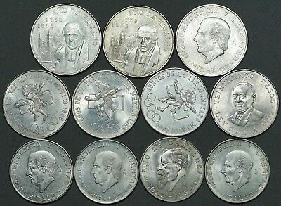 Lot of 11 Large Mexican Silver Coins, AU/BU. 5 & 25 Pesos