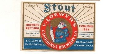 12oz IRTP V LOEWER'S STOUT BEER BREWED BY GAMBRINUS BREWERY CO NEW YORK NY