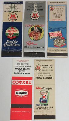 Texaco Matchbook Cover Lot of 5 - Sky Chief, Fire Chief, Marfak, Havoline