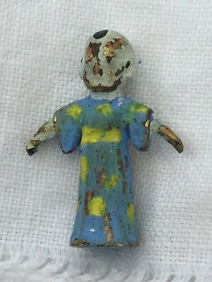 Antique Cold Painted Bronze Miniature Tiny Tiny Figurine Of A Wizard Chinese Man