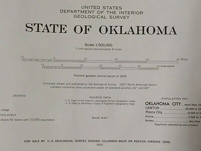 1972 USGS Oklahoma State Wall Map 58x35 Large