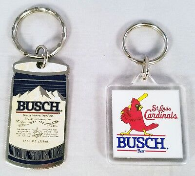 2 Silver Tone Keychains for Dad Busch Beer Theme Can & St. Louis Cardinals