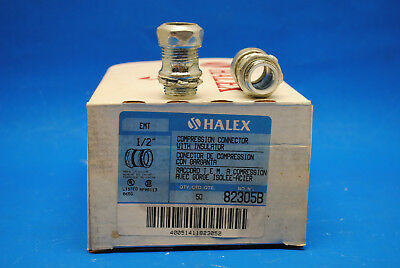 """Box of 50 pcs, Halex 1/2"""" Steel EMT Compression Connectors With Insulated Throat"""