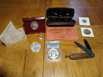 Lot of Fine Silver Coins, Silver Charms, A Vintage Knife, And 12K Eyeglasses. :)