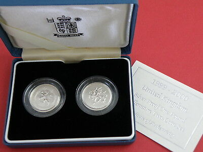 Scarce 1999 2000 Silver Proof £1 Millennium Two-Coin Set - Frosted Finish £100Bv