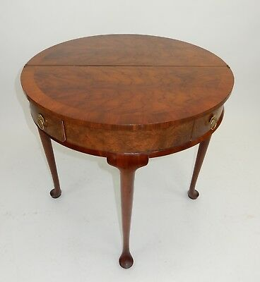 Baker Furniture Co. Burl Inlaid and Banded Mahogany Queen Anne Table 30 inches
