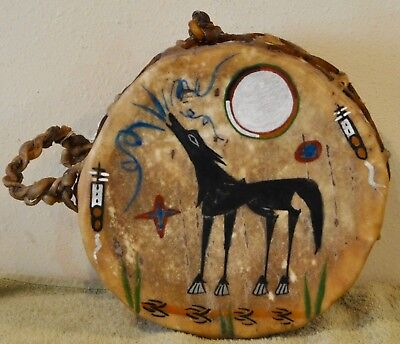 Wolf Song/Native American Drum Painted by Lakota Artist Sonja Holy Eagle