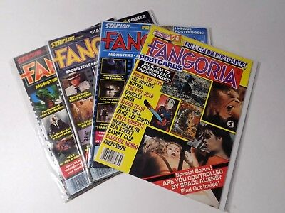 Fangoria Lot of 4 Magazines Vintage With Posters Postcards 80's Horror Scifi