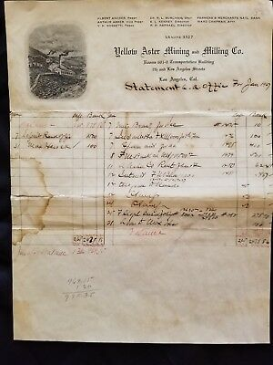 Antique 1927 Accouting Statement Yellow Aster Mining & Milling, Randsburg, Ca