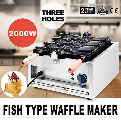 3Pcs 2000W Taiyaki Fish Waffle Maker Machine Dessert Open Mouth Commerical