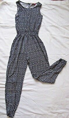 YD 11/12 Girls Black/White Jumpsuit Aztec Patterned Playsuit Trousers/Top Set