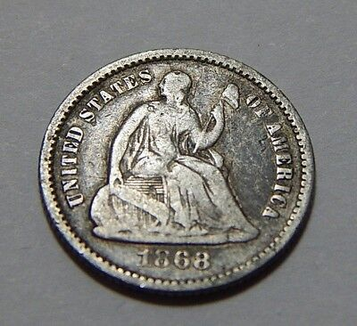 1868 US Silver Seated Liberty Half Dime Coin - Low Mintage Only 89,200