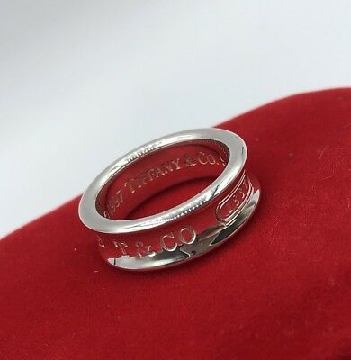 Authentic Tiffany & Co. Sterling Silver 1837 Ring Band Size 6.5 (BR026)