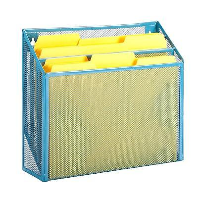 Honey-Can-Do OFC-04868 Mesh Vertical File Sorter, 3.6 x 12.6 x 11.5, Blue
