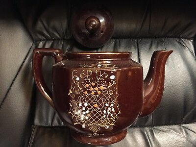 1950's Redware Brown Betty Teapot w/ Gold Gilding