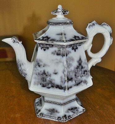 Antique Cockscomb Flow Mulberry Staffordshire Ironstone Teapot T. Walker Hong