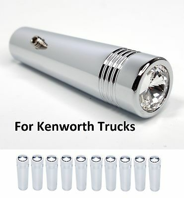 (Set/10) Kenworth Clear Crystal Toggle Switch Extension 2-1/4 Long, Chrome Metal
