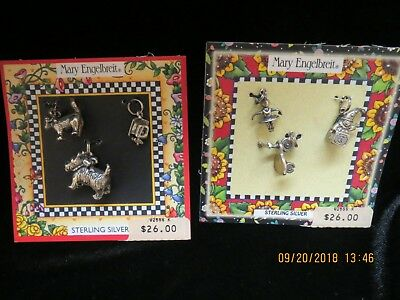 Vtg.~2 Cards, 6 Sterling Silver, Mary Engelbreit, Charms,  New On Cards