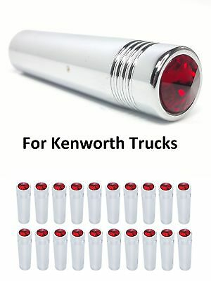 "(Set/20) Kenworth Red Crystal Toggle Switch Extension 2-1/4"" Long, Chrome Metal"