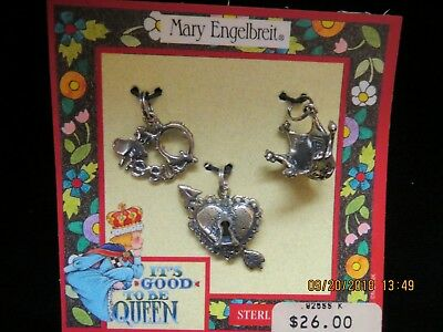 Vtg.~ Card, 3 Sterling Silver, Mary Engelbreit, Charms,  New On Cards