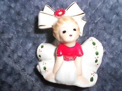 Vintage INARCO  Christmas Girl Figurine Wearing Dress Big Hair Bow
