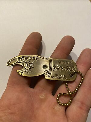 Coca Cola Antique Style Brass Keychain Spinner Top SOLID METAL Brass Finished