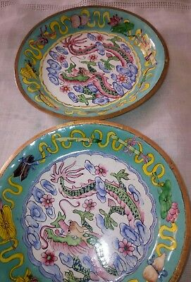 Rare Dishes Antique Chinese Canton Enamel On  Brass  Hand Painted  Dragon