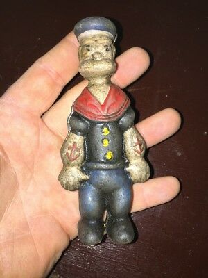 Popeye Cast Iron Collectors Toy Piggy Bank Antique Style Vintage Patina fr/g