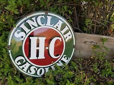 """""""H C  Sinclair  gas and oil 20x20 Vintage Steel porcelain old Convex sign."""