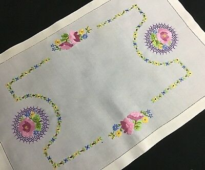 Beautiful Large Vintage Irish Linen Hand Embroidered Tray Cloth ~ Lovely Florals