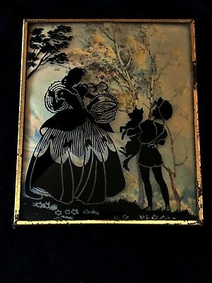 PET Convex Glass Reverse Painted 1930s Vintage Silhouette Framed Picture Lot