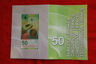 """Switzerland 50 Swiss Francs Banknote In Folder Ultra Rare """"a"""" Serial Number ! !"""