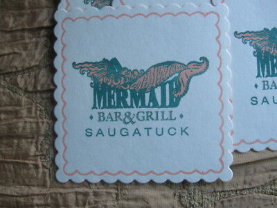 Mermaid Bar & Grill Coasters Lot Of 22 Saugatuck Michigan Scalloped Edge