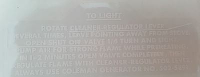 One Brand New Coleman 502 Stove Rear Lighting Instruction Sticker Label Decal