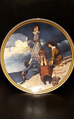 Norman Rockwell plate new in box COA with certificate  waiting on the shore