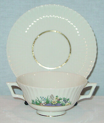 Rare!!! Lenox China Rutledge 2 Handled Cream  Soup Bowl & Saucer Set  New