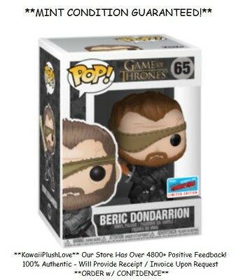 PRESALE Funko Pop Game of Thrones BERIC DONDARRION #65 NYCC 2018 COMIC CON - New