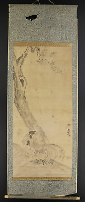 """JAPANESE HANGING SCROLL ART Painting """"Chicken"""" Asian antique  #E3980"""