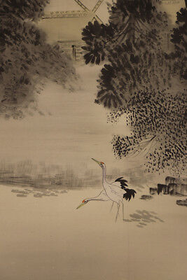 JAPANESE HANGING SCROLL ART Painting Scenery Asian antique  #E3969