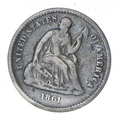 5c *1/2 Dime HALF* 1861 Seated Liberty Half Dime - Early American Type Coin *858