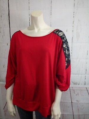FRENCH ATMOSPHERE womans PLUS SIZE 4X RED BLACK TOP LACE