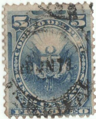 Peru 1874-80....coat of arms...5c blue...used