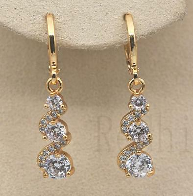 18K Gold Filled -  1.2'' Swirl Round Topaz Zircon Gems Wedding Dangle Earrings