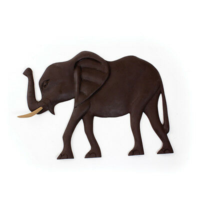 Genuine Hand Carved African Elephant Plaque Delivery In About 8 Days