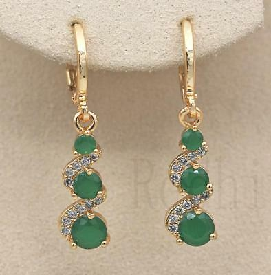 18K Gold Filled -  1.2'' Swirl Round Emerald Jade Topaz Wedding Dangle Earrings