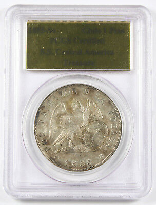 CHILE 1855 So 1 Peso Silver Coin AU S.S. Central America Treasure PCGS Certified