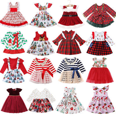 AU Merry Christmas Toddler Kids Baby Girls Festival Santa Party Dress Dresses