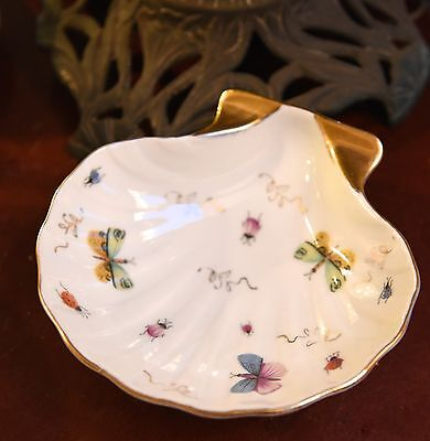 Vintage Porcelain Shell Soap Candy Dish Butterfly Floral Gold Gilt 7990 Lefton?