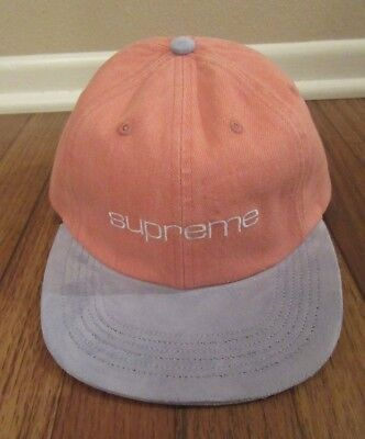 652069851a9 Supreme Denim Suede Compact Logo 6-Panel Strapback Hat Cap Pink SS18 Brand  New
